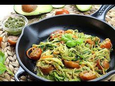 Espaguetis de calabacín y zanahoria con pesto de aguacate - YouTube