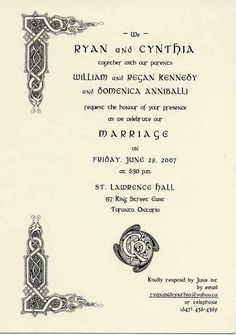 Celtic Shamrock Irish Claddagh Wedding Scroll Invitations