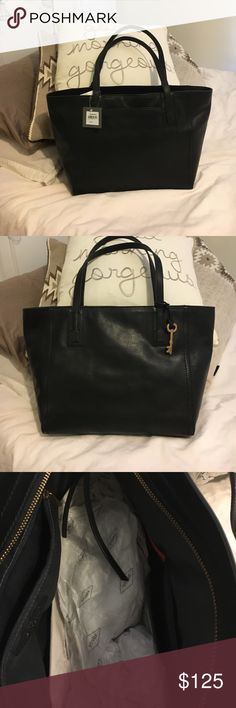 "💥Reduced💥 Fossil NWT Black leather EMMA TOTE NWT - Soft, supple black leather, with 9"" strap drop, 17""W x 10.75""H (or deep) x 5.75"". Lots of accessory pockets inside - one zipper on one side and 3 assorted on the other with elastic straps to hold  pens and phone securely. One outside pocket for essentials. Fossil Bags Totes"