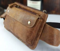 Brown Genuine Leather Waist Bag Messe...