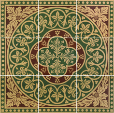 Disraeli Green – Victorian Floor Tiles from Tile Source Inc.