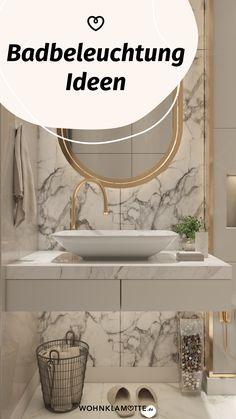 Mit den richtigen Badbeleuchtungs-Ideen lässt sich der Wohlfühlfaktor gleich verdoppeln. Dabei ist es wichtig, dass Du die perfekte Kombi aus praktischen Badleuchten für die alltäglichen Schönheitsprozeduren und stimmungsvollen Lichtquellen zum Entspannen findest. Wir zeigen Dir, was zu beachten ist. Mini Bad, Mirror, Bathroom, Wellness, Furniture, Home Decor, Mirror With Lights, Dark Rooms, Round Bathroom Mirror