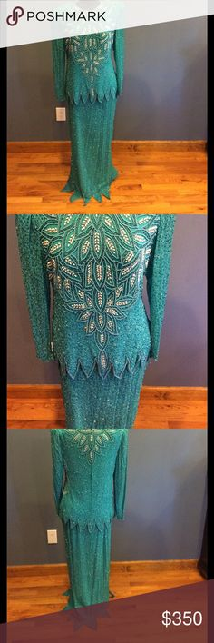 Stunning vintage mother of the bride dress Beadwork is amazing. Doesn't have a material tag but believe it all silk. Skirt has elastic waist and top zipper back. Top doesn't have size tag but bottom is an xl so assuming so is top. Color is mint. Please let me know if you have any questions or need additional pictures. Dresses