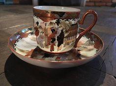 Meiji Era Tea cup and Saucer Tea Cup Set, Cup And Saucer Set, Tea Cup Saucer, Japanese Porcelain, Japanese Ceramics, Japanese Tea Cups, Japanese Egg, Meiji Era, Antique Tea Cups