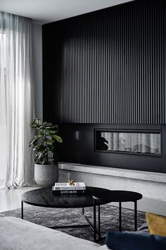 Black on black: A sleek and dramatic home tour. Black timber panel wall in livin. Black on black: A sleek and dramatic home tour. Black timber panel wall in living room, architectural timber panel wall, timber panel detailing in home Classic Living Room, My Living Room, Living Room Interior, Home And Living, Living Room Decor, Interior Livingroom, Black Living Rooms, Small Living, Feature Wall Living Room