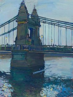 "Sculling at Dusk, Hammersmith Bridge   -   Luke Martineau  British  b.1970-  Oil on Board  24"" x 18"""
