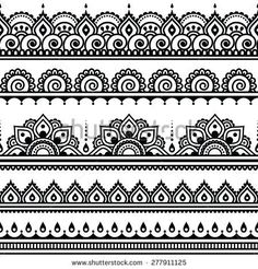 Mehndi, Indian Henna tattoo seamless pattern, design elements by RedKoala great for a border stencil on painted subfloor Henna Tattoo Designs, Mehndi Designs, Mehndi Tattoo, Henna Mehndi, Henna Art, Tattoo Ideas, Mehendi, Indian Henna Designs, Henna Designs White
