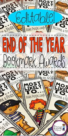 End of the Year Award Bookmarks are the awards students treasure long after the last school bell! $