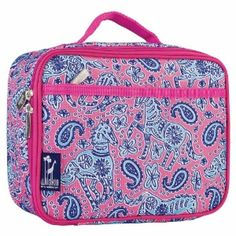 Watercolor Ponies Pink Lunch Box with Paisleys and Flowers.