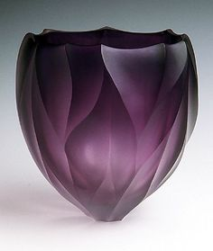 Purple Fire Bowl Handblown and diamondcarved art glass Artists Jean Salatino Steven Gandolfo of SalatinoGandolfo Glass Sonoma CA salatino Blown Glass Art, Art Of Glass, Purple Fire, Purple Glass, Glass Vessel, Glass Ceramic, Ceramic Bowls, Vases, Glas Art
