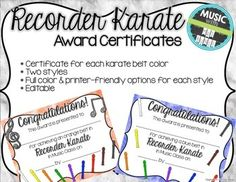 The karate belt method can be used for any classroom instrument unit to motivate students to practice!  If you use recorders in your classroom and want to encourage your students to get to their next belt color, these certificates are a great way to do it!INCLUDED:*Certificate for each karate belt color*Two styles*Full color & printer-friendly options for each style*Editable PPT*PDF file for easy printing