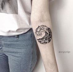 Dotwork wave on forearm by Sergey Edge