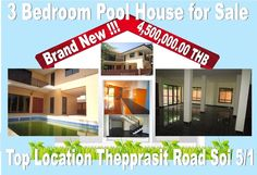 Pattaya House for sale : private pool, 3 bedroom, located inside Sukhumvit circle, 150 m from Thepprasit road  inside 5/1, unfurnished, brand new, detached, cull-the-sack Soi, land plot is 228 sqm plus private road to public road included, never lived in, ground floor with covered kitchen, large living space, extra kitchenette possible with sink, second floor has 3 bedrooms with 3 en suite bathrooms, comes unfurnished, on Thai name, only 4,500,000.00 THB transfer tax included, call…