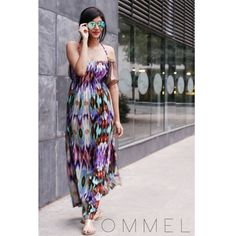 All set to hit Sunday brunch!  French 57: Maxi dress with side slit by Ommel #Sunday #brunch #maxi #dress #slit #strappy #ommel #india #fashion #model #photoshoot