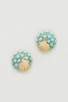 Seashell Earrings in Sea Glass Mint