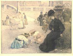 Village Antiques: Manuel Robbe - Women & Children in a Park