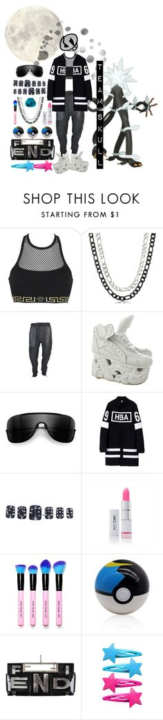 """T E A M ★ S K U L L"" by raelenas ❤ liked on Polyvore featuring Versace, West Coast Jewelry, Acne Studios, Hood by Air, Static Nails and Fendi"