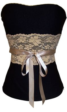 Black Bustier Top with Mocha Lace. Pair with jacket or cardigan and jeans or pants, can you say cute?