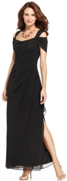 Alex Evenings Sleeveless Draped Evening Gown in Black Petite Dresses, Cute Dresses, Perfect Figure, Alex Evenings, Jacket Dress, Evening Gowns, Cold Shoulder Dress, Lace, How To Wear
