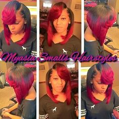 Latest 30 Showiest Bob Haircuts For Black Women – Black And Red Bob Hairstyles Curly Hair Tips, Braids For Long Hair, Curly Hair Styles, Natural Hair Styles, Short Sew In Hairstyles, Weave Hairstyles, Girl Hairstyles, New Hair Look, Love Hair