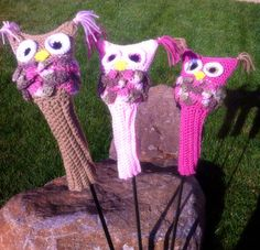 Pink owl golf club head covers set of 3 on Etsy, $25.00
