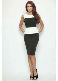 Image detail for -Emily Black & White Colour Block Peplum Dress   Amy Childs Dress ...