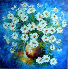"Oil painting ""Daisies""canvas,palette knife - buy or order in an online shop on Livemaster 