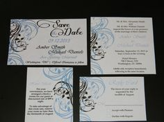 Printable DIY Wedding Invitation  4 Piece Set  by MyDIYDesigns, $15.00
