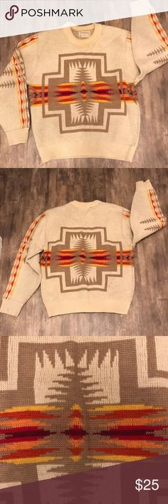 JUST IN🔥PENDELTON VINTAGE AZTEC PRINT This vintage 💎 gem is from the 1970's and is amazing. It needs a good dry cleaning but comes from a smoke free home. This sweater is absolutely stunning like mostly all of Pendeltons stuff. Size Large. Has a small spot. Can be dry cleaned I have not tried to clean it. ✨ check out my closet✨ Pendleton Sweaters Crew & Scoop Necks