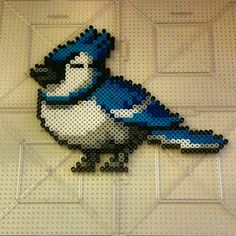 Blue Jay bird perler beads by thevendelo Perler Bead Designs, Hama Beads Patterns, Beading Patterns, Blue Jay Bird, Origami 3d, Peler Beads, Pixel Pattern, Melting Beads, Beaded Cross Stitch