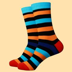 These colourful multi stripe with contrasting heel and toe designed socks are crafted from 80% cotton with 17% nylon and 3% Spandex to reinforce the stress zones of these breathable and very comfortable to wear cotton socks. Color Stripes, Stripes Design, Multi Coloured Socks, Brown Socks, Toe Socks, Royal Red, Red Heels, Fashion Socks, Cotton Socks