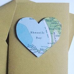 Rhossili Bay, Heart Map Greetings Cards, perfect for any occasion #Rhossili #beach #Wales #uk #custom #bespoke #map #vintage #card #greetingcards #special #wedding #invite #savethedate #weddinginvitation #green #studio #love #heart #handmade #travel