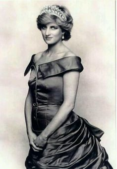 Update: 1987 - An official portrait taken by Sir Terence Donovan, Royal Photographer. Princess Diana wearing an emerald green bustle strapless evening gown pearl earrings and tiara..