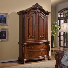 Meridian Cherry Finish Luxor Solid Wood Armoire