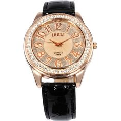 AMPM24 Fashion Rose Gold Case Bling Crystal Lady Analog Balck Leather Quartz Watch:Amazon:Watches