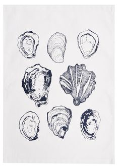 Oysters Tea Towel: this is kind of the illustration style i need to create for the anchor I am using on a set of invites Alphonse Mucha, Dotted Tattoo, Gcse Art, You Draw, Natural Forms, Modern Boho, Sea Shells, Oyster Shells, Art Inspo
