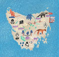 Antoine Corbineau - Map of Tasmania for Rocks Magazine Pictorial Maps, Art Carte, Simple Illustration, Aboriginal Culture, City Maps, Book Cover Design, Tasmania, Map Art, Illustrators