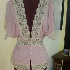 Charlotte Russe top with lace small Clearance cut neck line pink top Charlotte Russe Tops Blouses