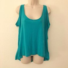 Forever 21 Cold Shoulder Top Turquoise high low cold shoulder top. 52% micro modal, 48% cotton.                                                                                Note: Double listings because of buyer's accidental purchase. Forever 21 Tops