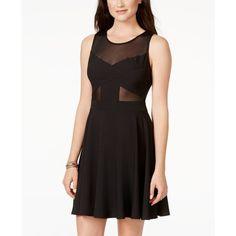1ae4b109 City Triangles Juniors' Illusion Fit & Flare Dress ($29) via Polyvore  featuring dresses, black, kohl dresses, black fit and flare dress, city  triangles ...