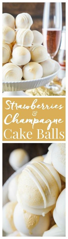 These Strawberries Champagne Cake Balls are perfect for a New Years Eve party, Valentines Day, Bridal Showers and so much more! They make an easy dessert that tastes like fruity pebbles! christmas food and drinks Köstliche Desserts, Delicious Desserts, Dessert Recipes, Yummy Food, Sweets Recipe, Health Desserts, Health Foods, Dinner Recipes, Cake Pops