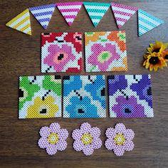 Marimekko coasters perler beads by Perler Bead Designs, Hama Beads Design, Pearler Bead Patterns, Diy Perler Beads, Perler Bead Art, Perler Patterns, Pearler Beads, Hama Beads Coasters, Art Perle