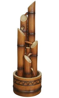 The Castillon Water Bamboo Style Fountain by Bond includes five large tubes shaped like bamboo adding an Asian inspired decorative look to any garden and patio. With beautiful details and water trickling down from tube to tube, this water fountain is sure to be a centerpiece in any outdoor living room. Features : Weight ? 26.26 Dimensions - 13.7x13.7x42.05 Weight of the Master Case ? 30.87 Dimensions of the Master Case- 45.67x16.54x16.93 Constructed of ? Envirostone Installed with UL Tested…
