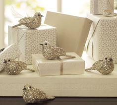 silver glittery bird decor