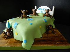 5 Little Monkeys Jumping on a Bed Birthday Cake