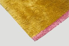 Solid Gold with Watermelon End Panels detail | 2x3, 100% Silk Shag Rug | Luxury Handmade Sustainable Contemporary Carpets & Rugs reviving ancient techniques | carinilang.com