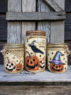 Halloween set of Three Jars, Something Wicked This Way Comes Pint Mason Jars, Mason Jar Lids, Mason Jar Crafts, Painted Jars, Hand Painted, Kerr Jars, Quart Jar, Something Wicked, Chalk Paint