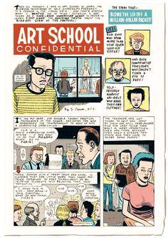 Art School Confidential by Daniel Clowes Character Illustration, Graphic Design Illustration, Illustration Art, Daniel Clowes, Ghost World, Book Writer, Adventure Activities, Comic Panels, Vintage Comics