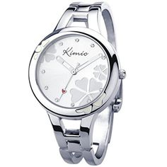 KIMIO Womens Ladies Stainless Steel Dial Bracelet White Wrist Watch Quartz -- You can find out more details at the link of the image.Note:It is affiliate link to Amazon.