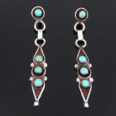 Old Native American Zuni Sterling Silver Snake Eye Turquoise Dangle Earrings   eBay